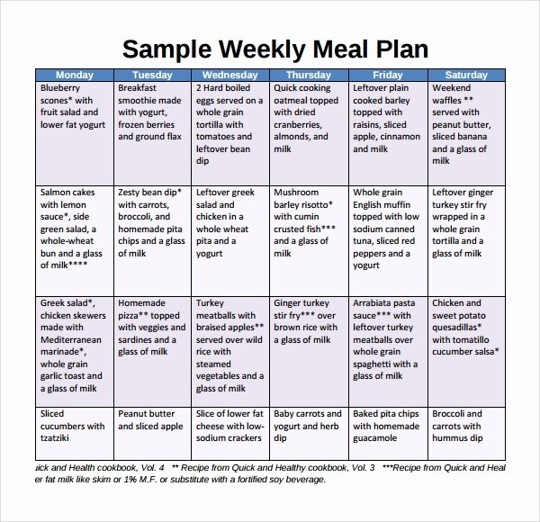 Sample Weekly Meal Plan Template 9 Free Documents In