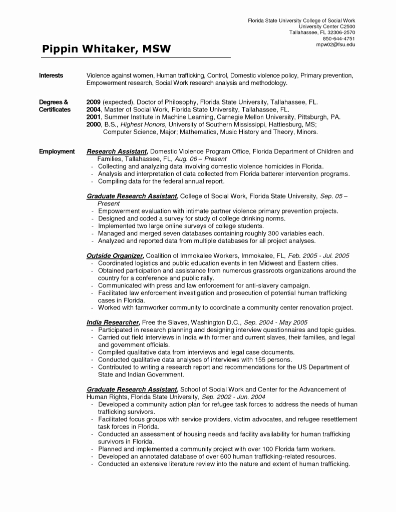 Sample social Work Resume | Latter Example Template