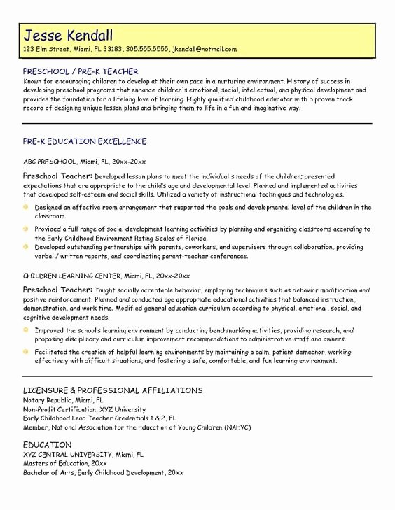 Samples Preschool Teacher Resume