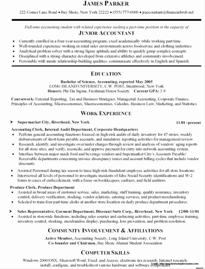 Samples Resumes for Accounting Jobs Resume Resume