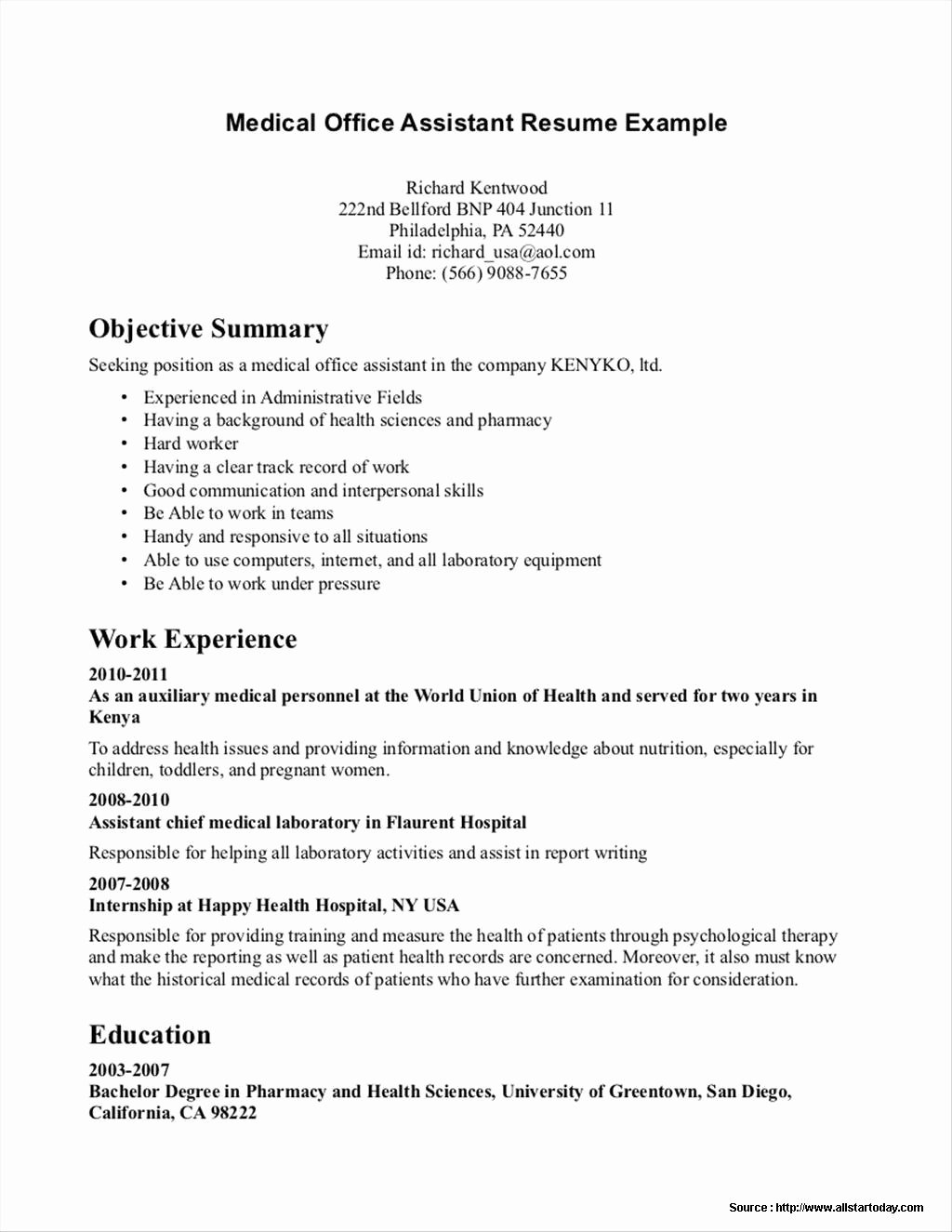 Samples Resumes for Medical Fice assistant Resume