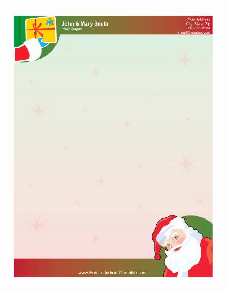 Santa Claus and Gift Letterhead