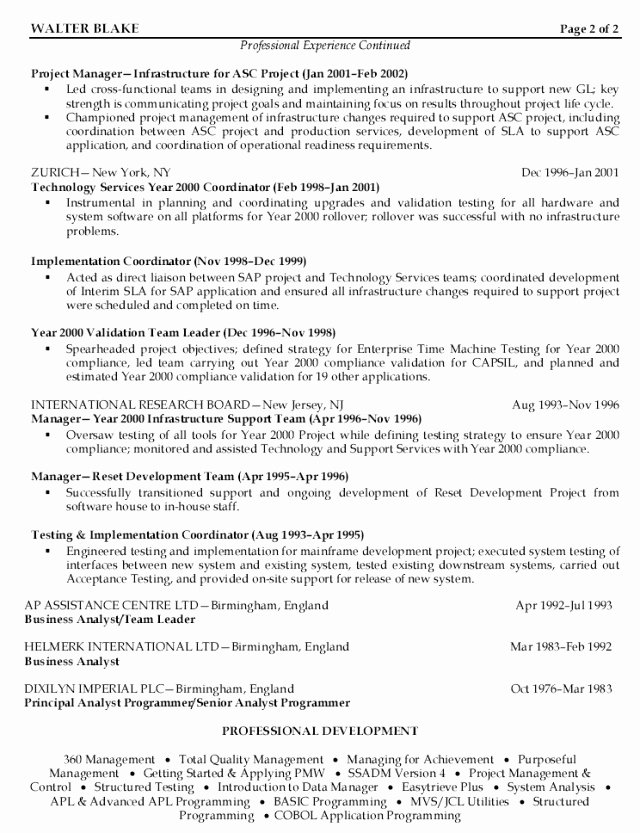 Sap Project Manager Resume