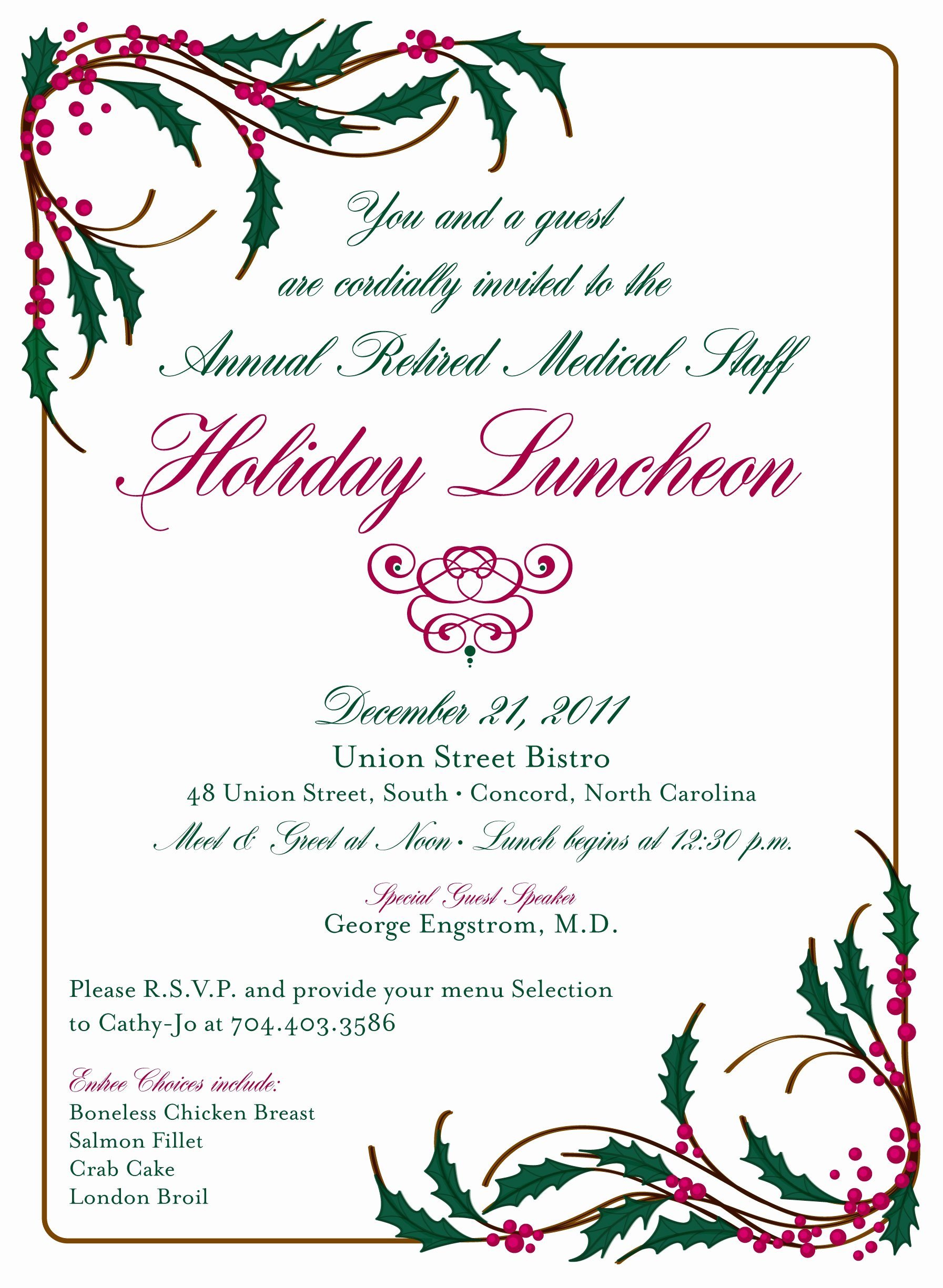 Sarah Ritter Cmc northeast 2011 Holiday Luncheon Invitation