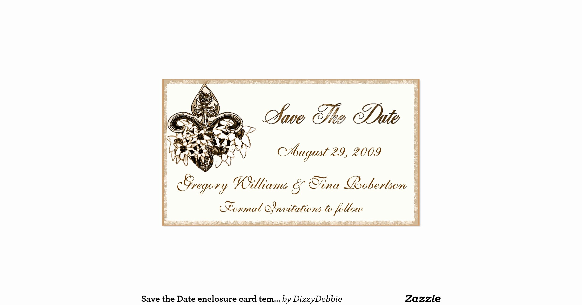 Save the Date Enclosure Card Template Double Sided