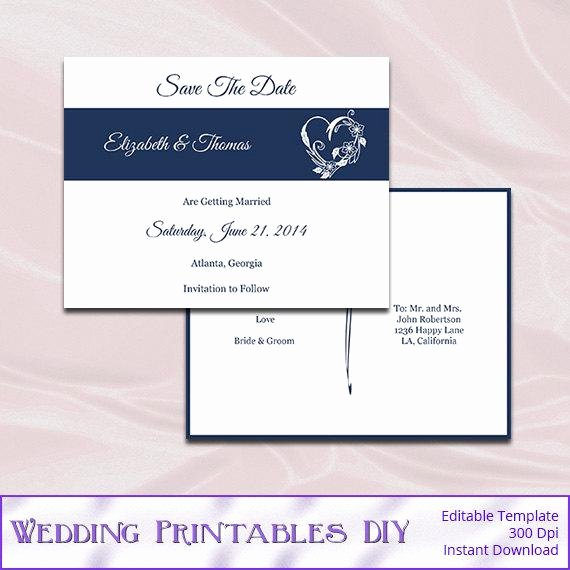 Save the Date Postcard Template Diy Navy by