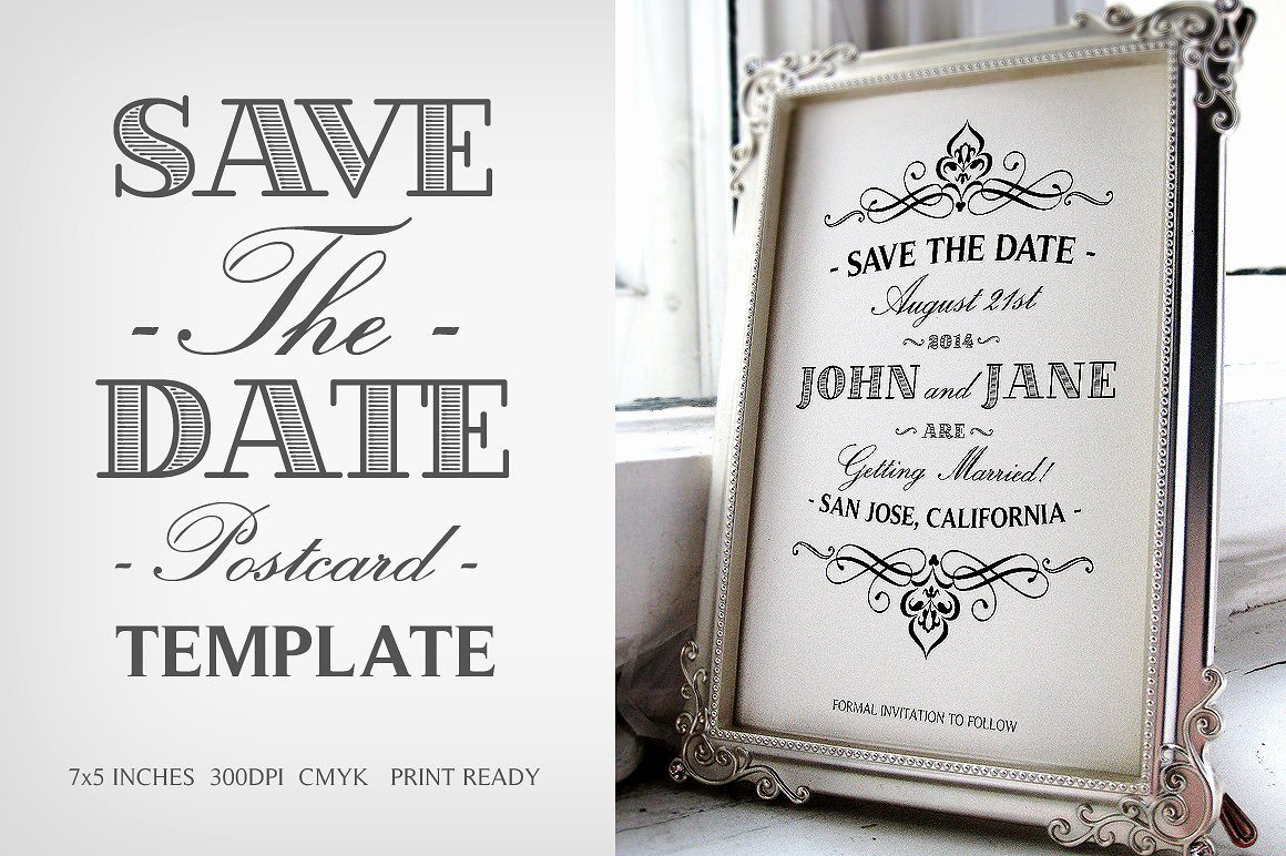 Save the Date Postcard Template V 1 Invitation Templates