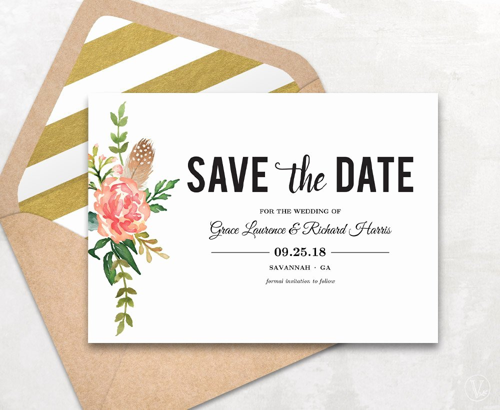 Save the Date Template Floral Save the Date Card Boho Save