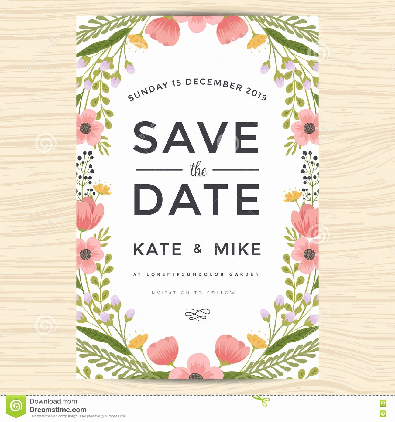 Save the Date Wedding Invitation Card Template with Hand