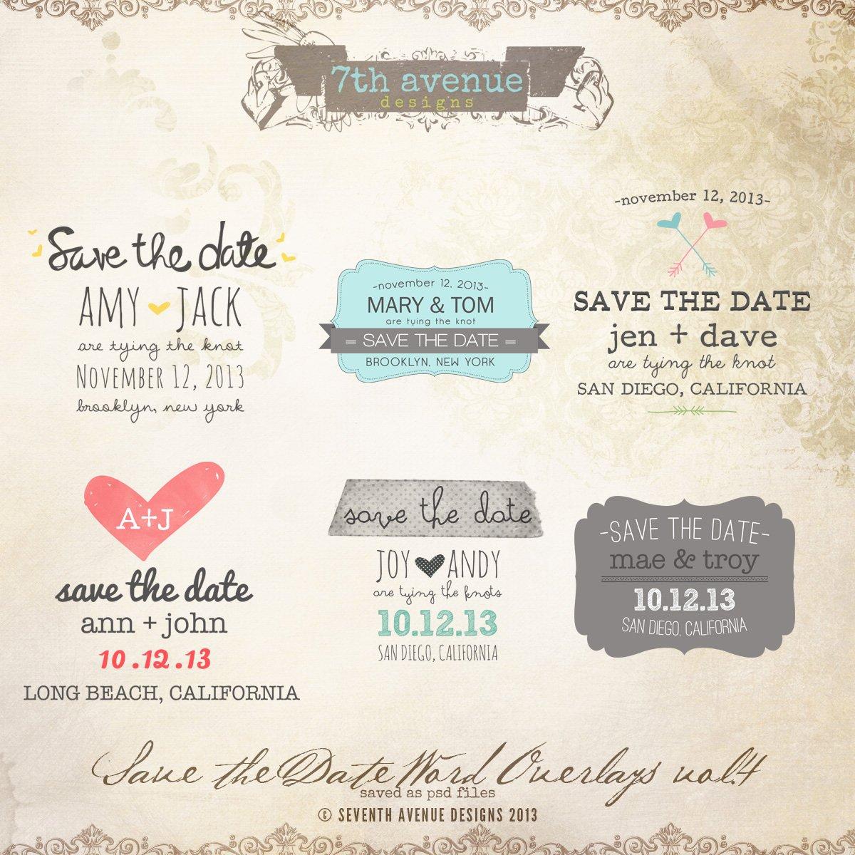 Save the Date Word Overlays Vol 2 [overlays Savethedate2