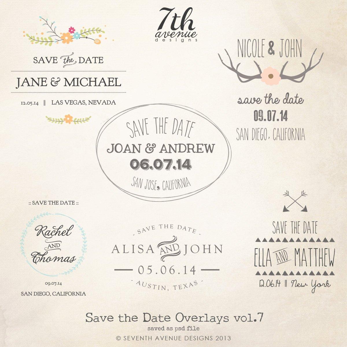 Save the Date Word Overlays Vol 7 [overlays Savethedate7