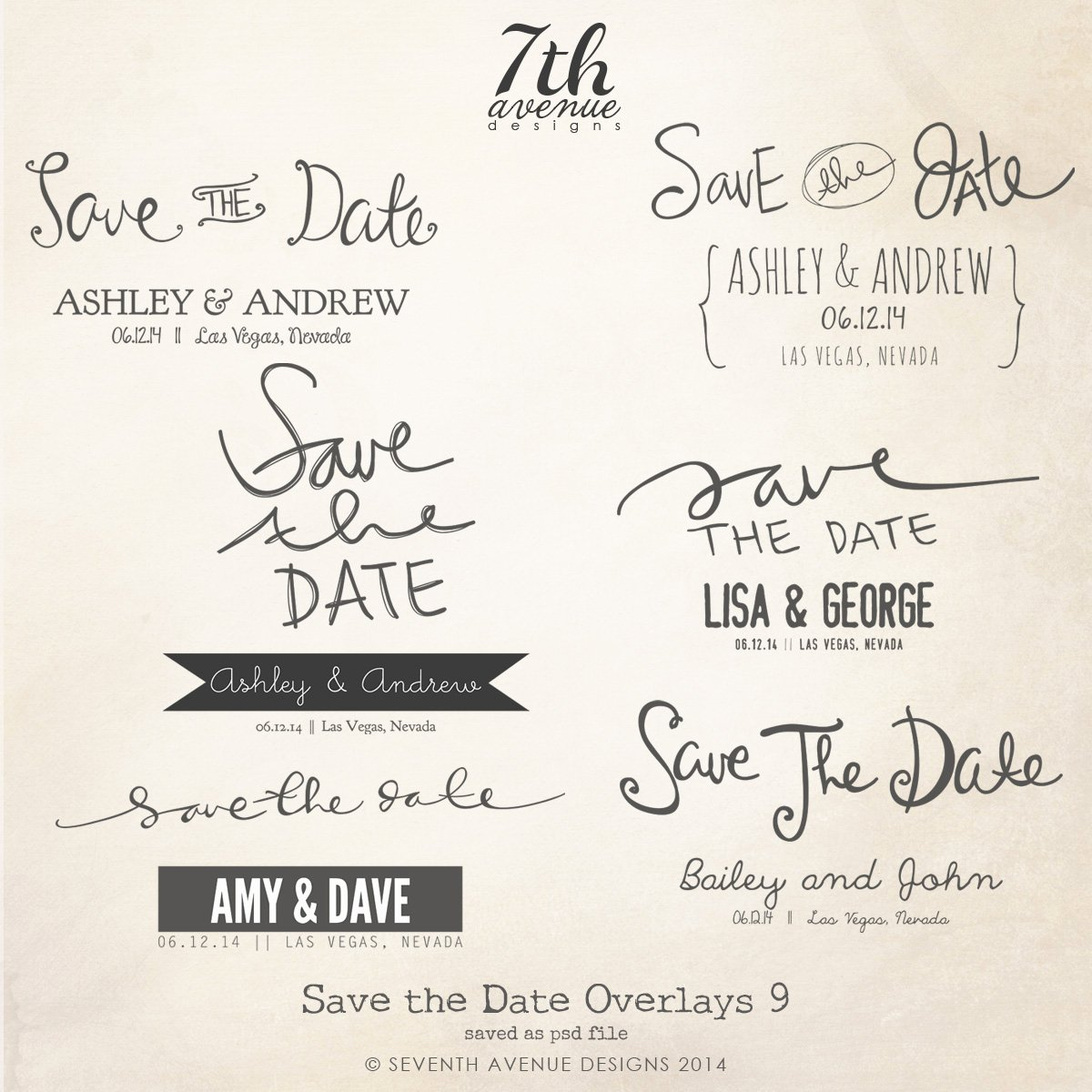Save the Date Word Overlays Vol 9 [overlays Savethedate9