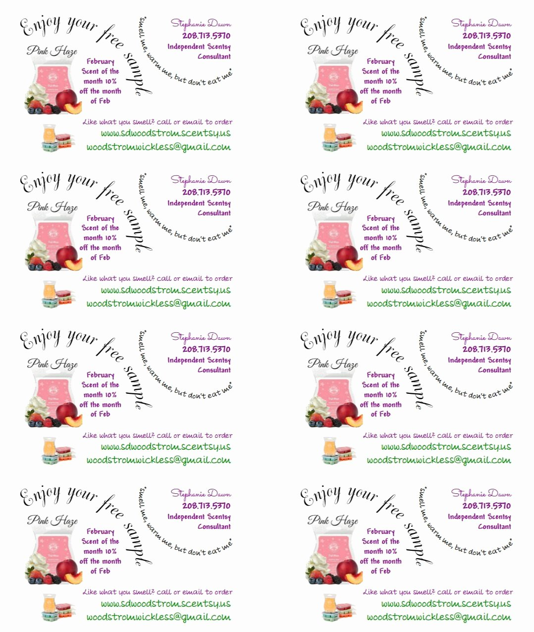 Scentsy Label Template 1500