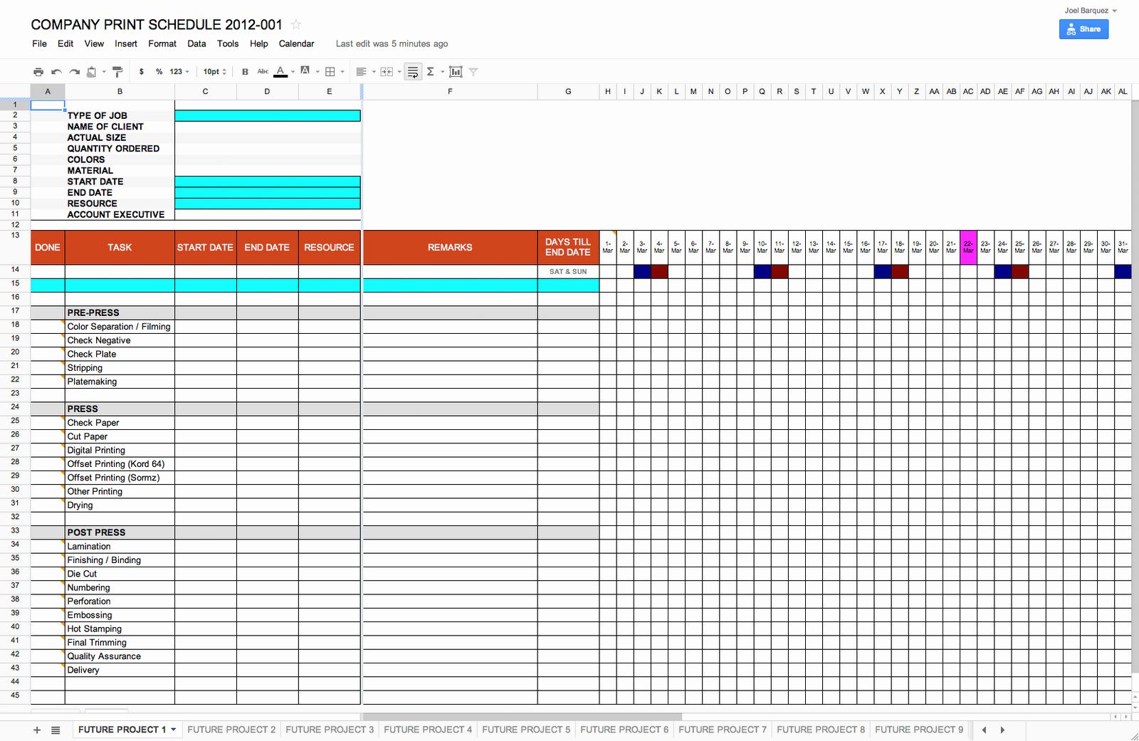 Schedule Template Google Docs