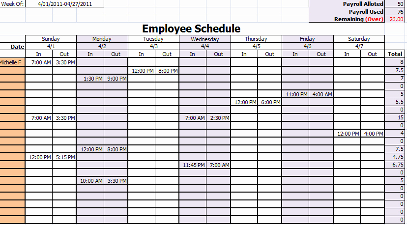 Schedule Template Monthly Employee