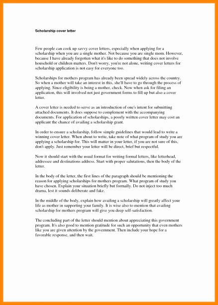 Scholarship Application Examples Letter Sample Pdf