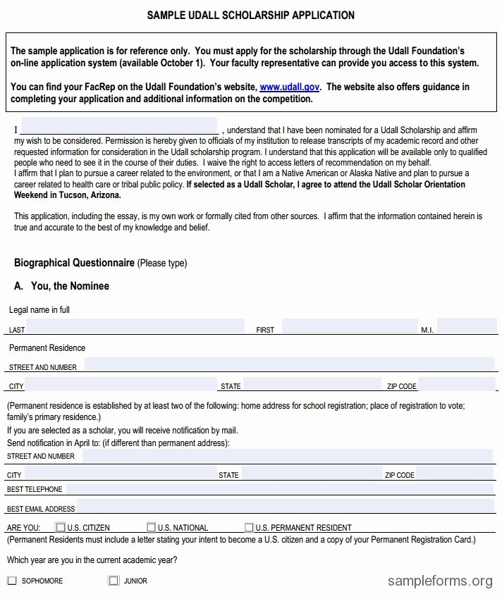 Scholarship Application format Sample forms
