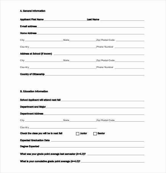 Scholarship Application Template – 10 Free Word Pdf