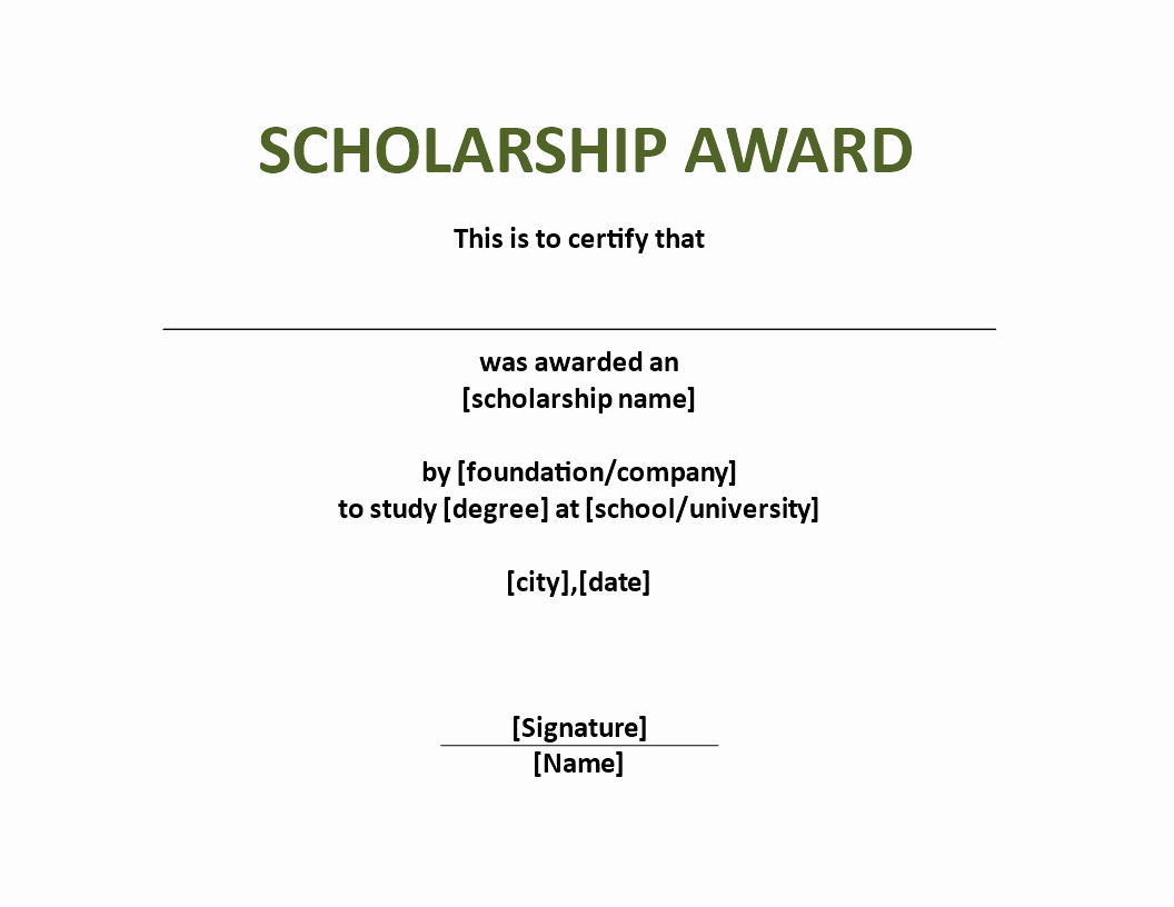 Scholarship Award Certificate Template Download This
