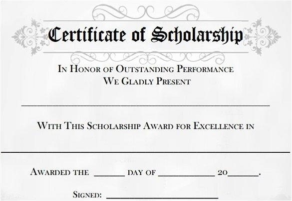 Scholarship Award Certificate Template Word