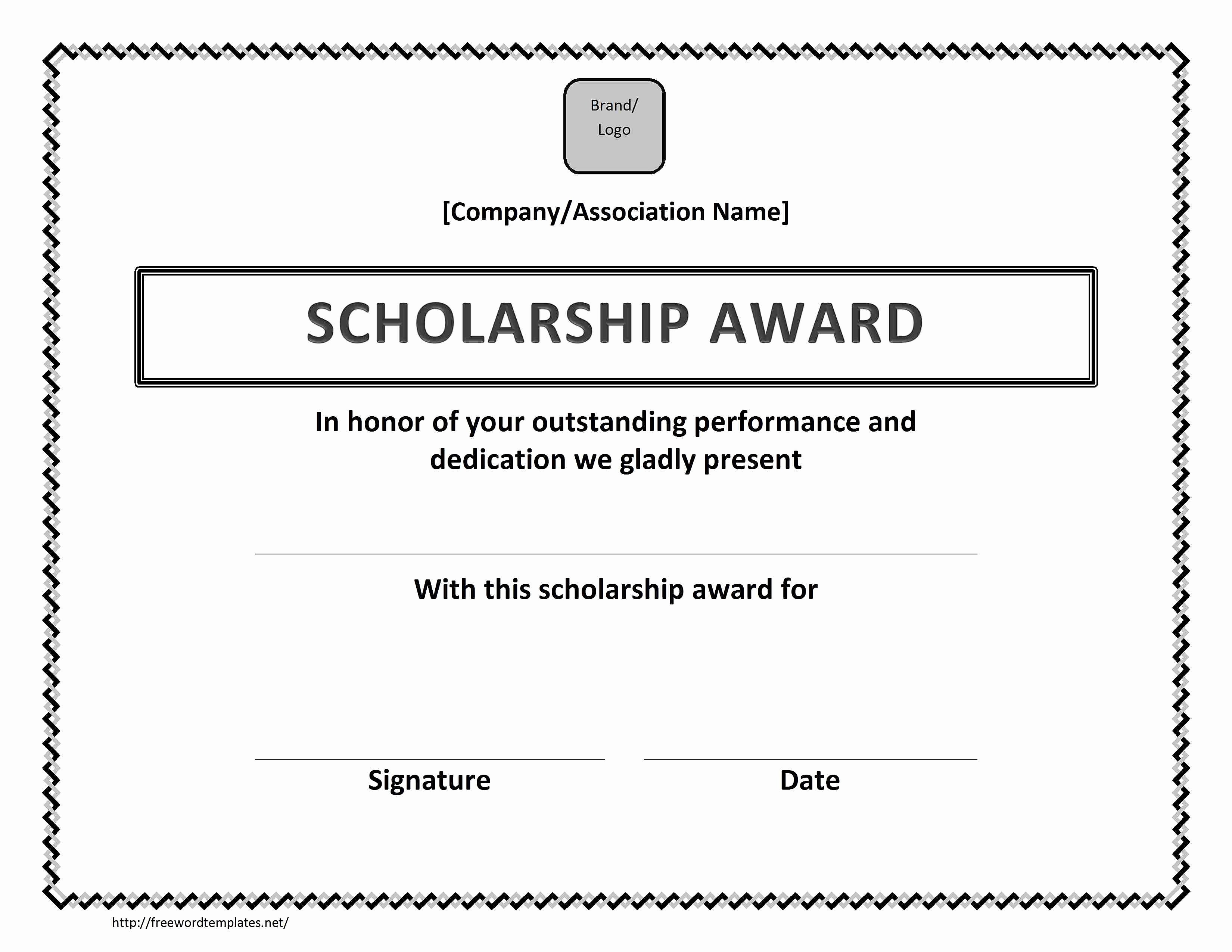 Scholarship Award Certificates