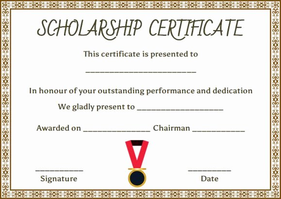 Scholarship Certificate Template 11 Professional