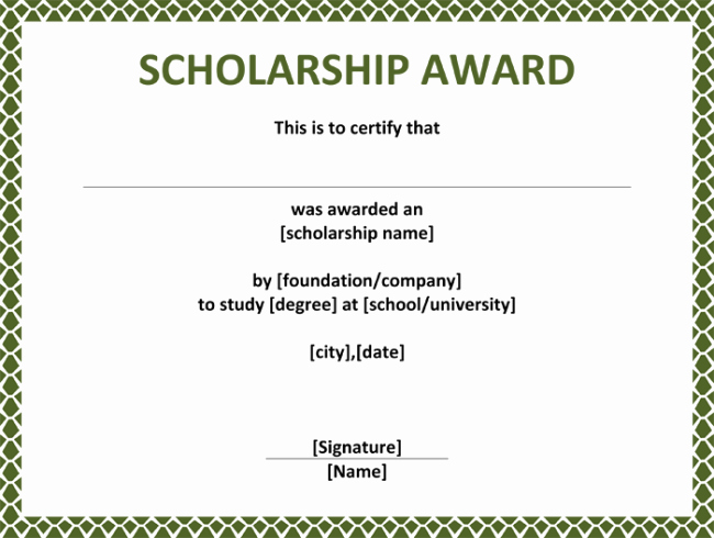 Scholarship Certificates Templates