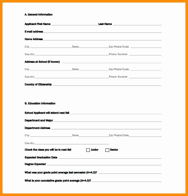 Scholarship forms Template Awesome Standard Cation form