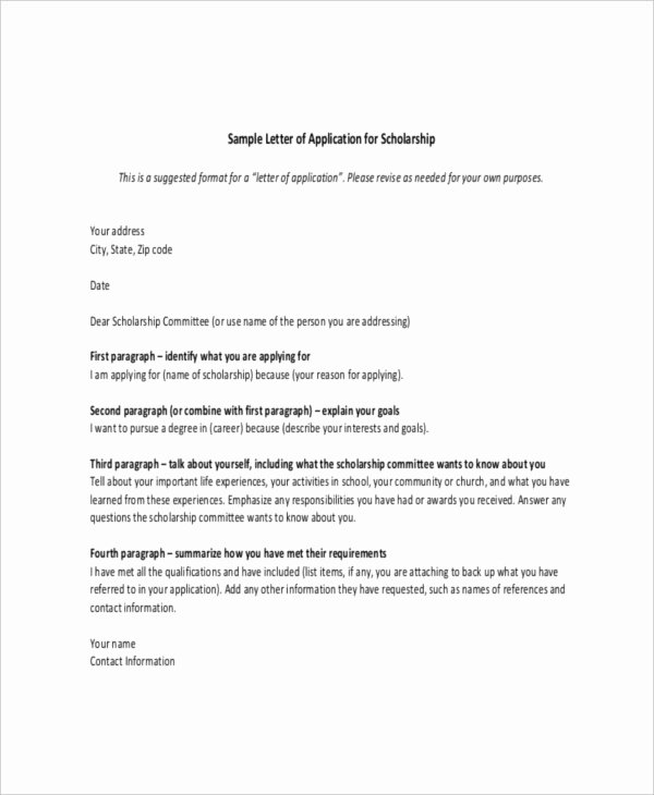 Scholarship Letter Template 11 Free Sample Example