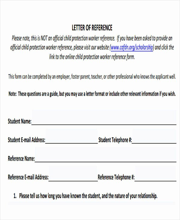 Scholarship Reference Letter Templates 5 Free Word Pdf