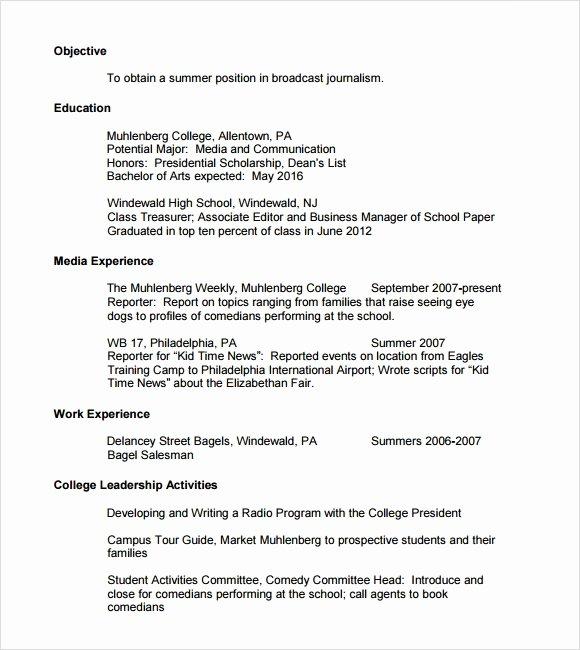 resume for scholarship application