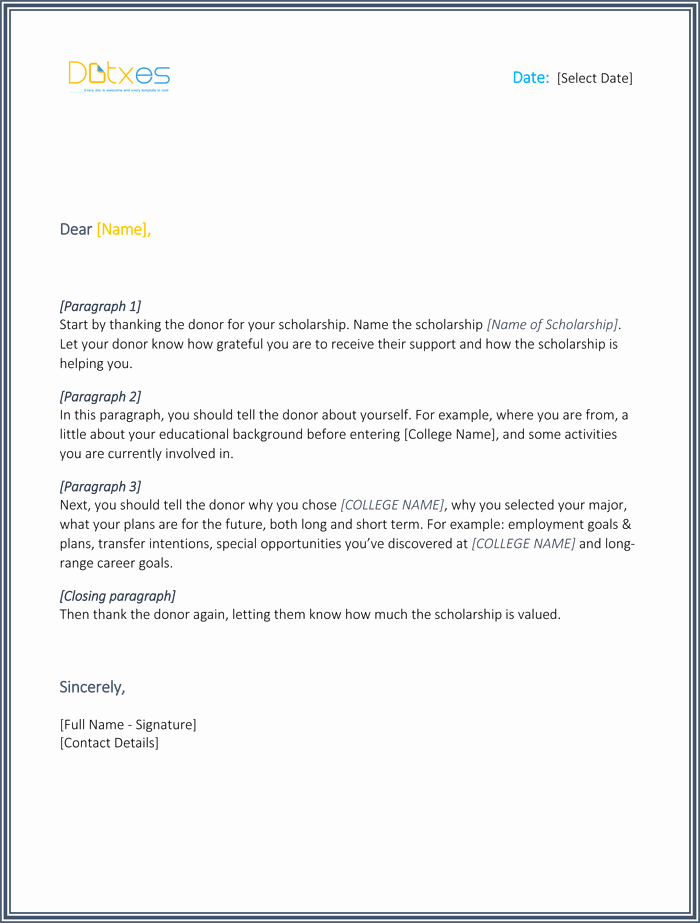 Scholarship Thank You Letter 7 Sample Templates You