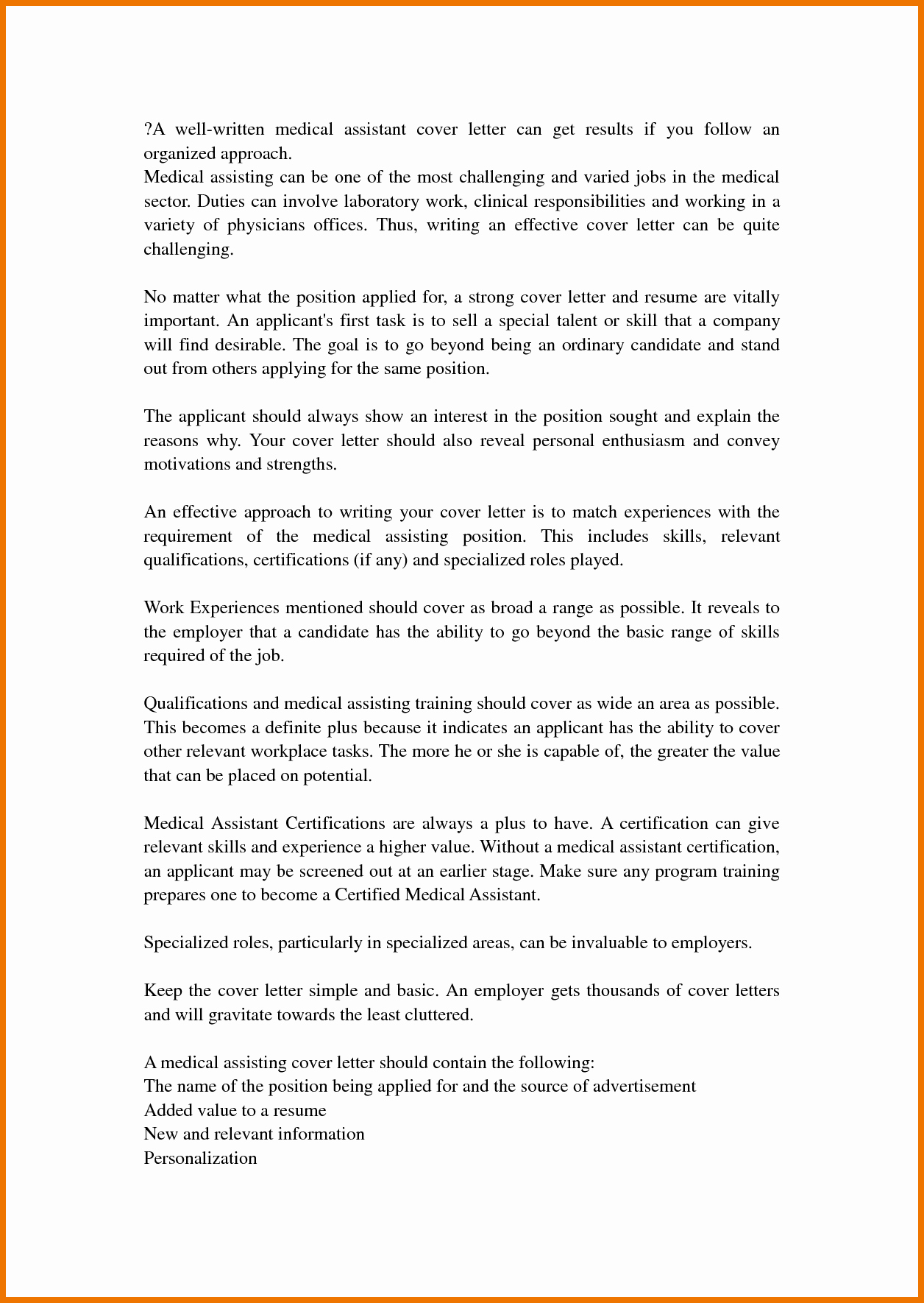 Schön 4 Medical assistant Cover Letter No Experience
