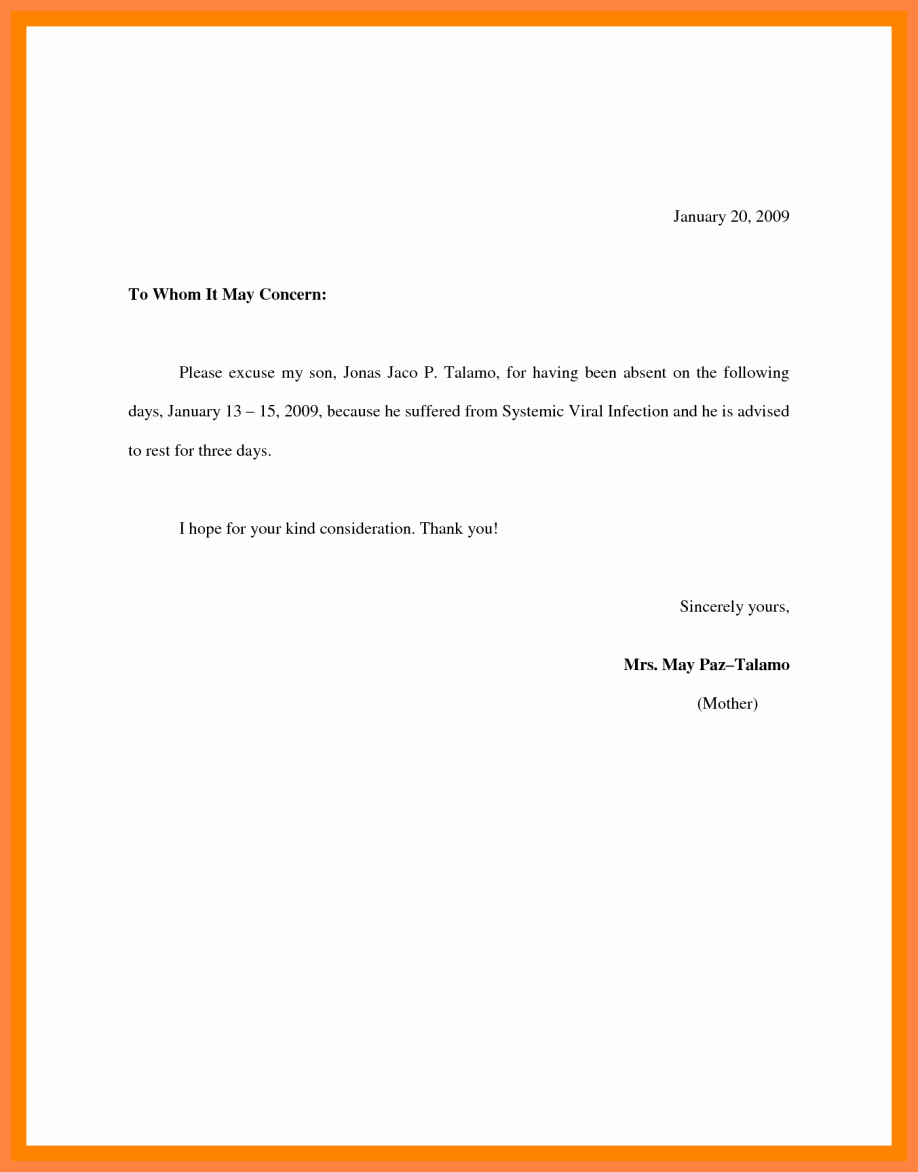 School Absence Excuse Letter Sample Examples Note Template