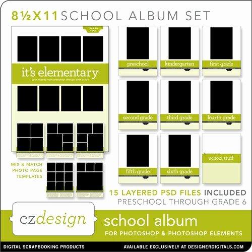 School Album Layered Template Set 8 5 X 11 Cathy