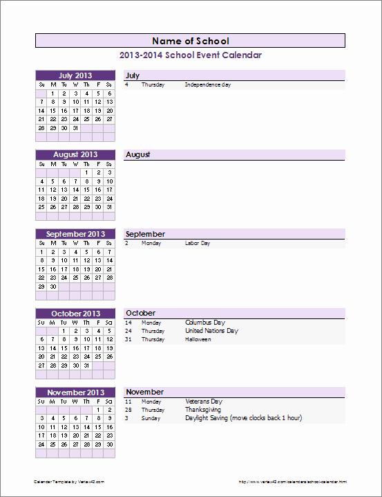 School Calendar Template 2016 2017 School Year Calendar