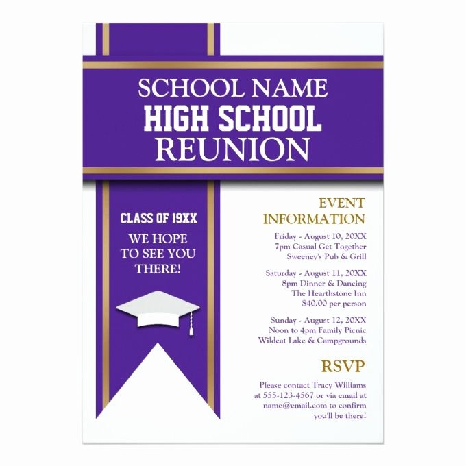 School Colors Banner Custom Class Reunion 5x7 Paper