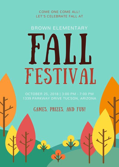 School Fall Festival Flyer Templates by Canva