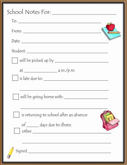 School Note Template – Missmernagh