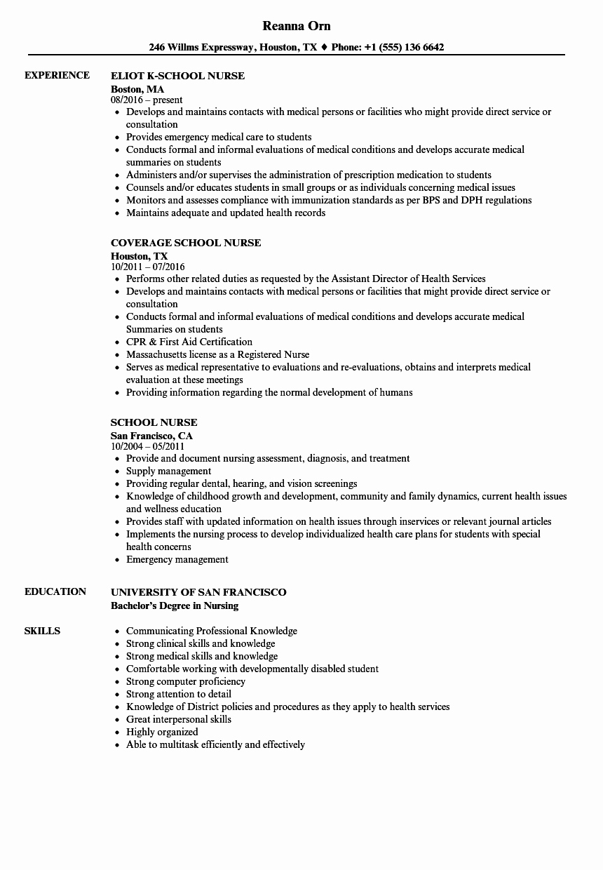 School Nurse Resume Samples