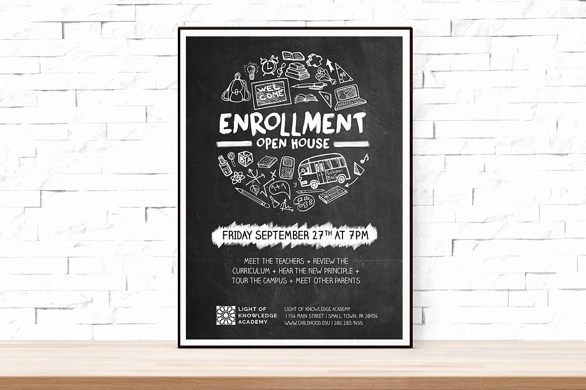 School Open House Flyer Flyer Templates Creative Market