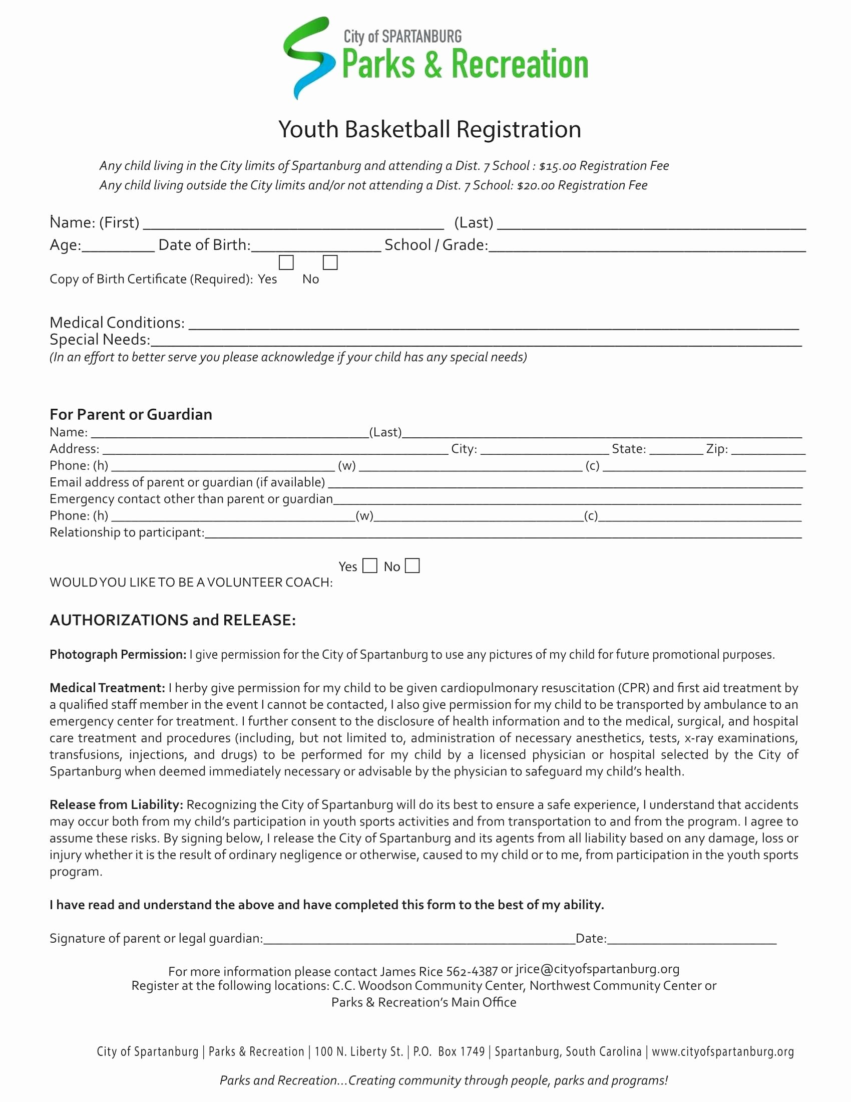 school registration form template word
