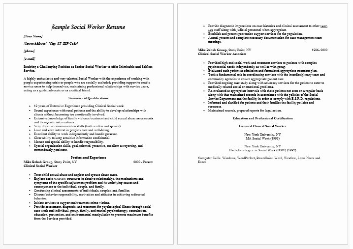 School social Work Resume Best Resume Collection