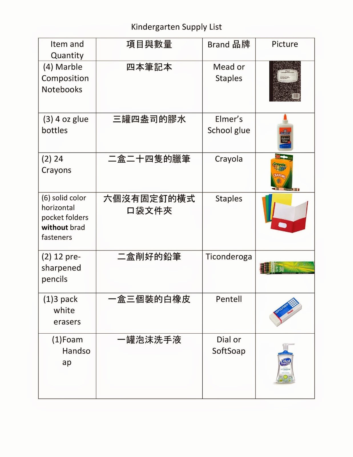 School Supplies List Template Hospiiseworks