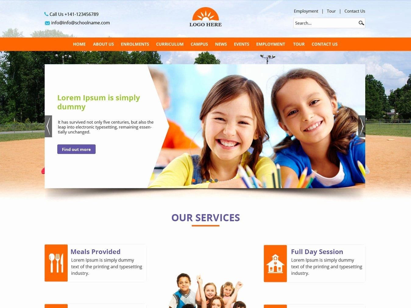 School Website Template Psd Design Free Psd Design