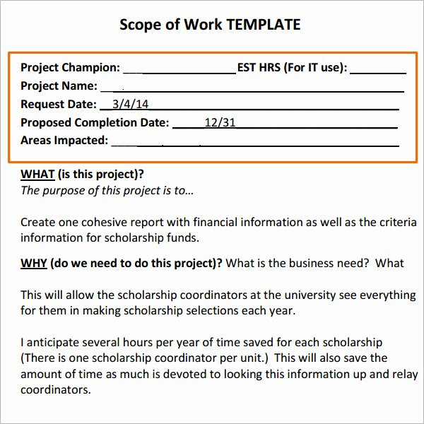 Scope Of Work 16 Free Pdf Dowload In Pdf Doc Excel
