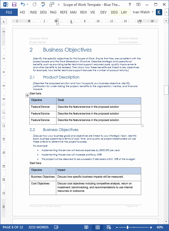 Scope Of Work Template – Download Ms Word & Excel