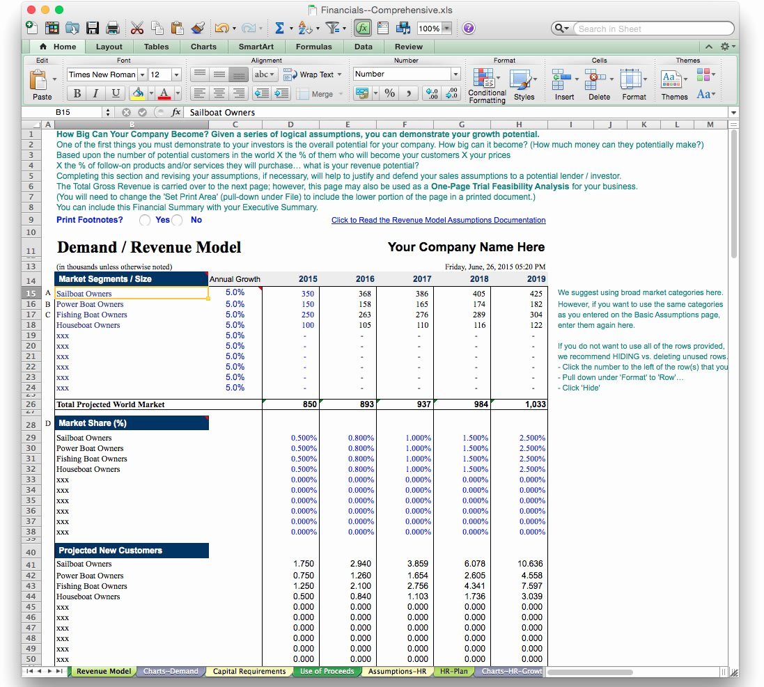 Score Business Plan Template Free Spreadsheet Templates