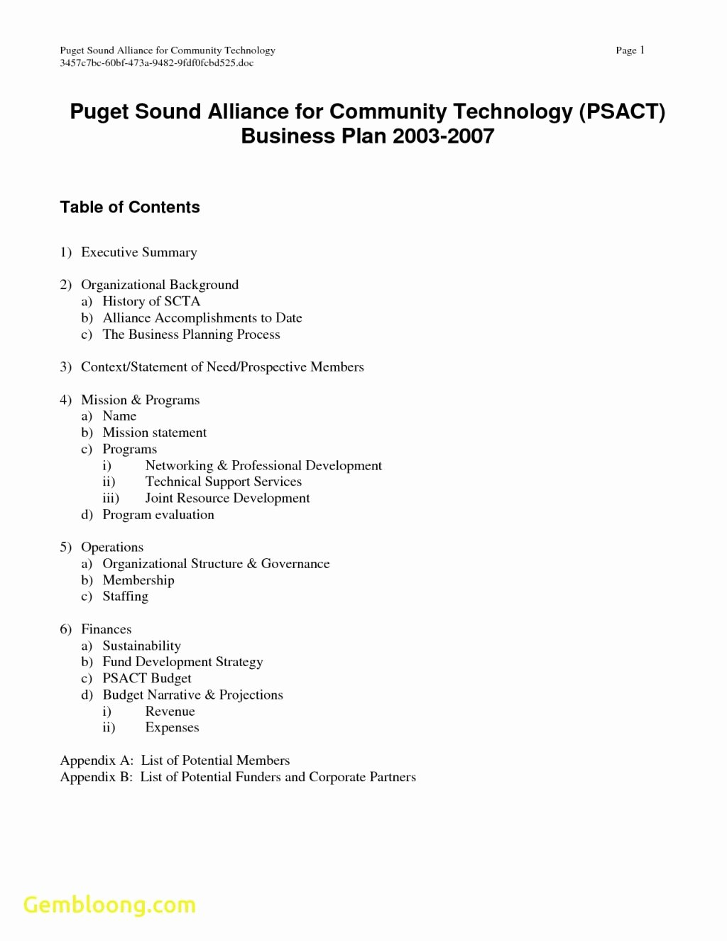 Score Nonprofit Business Plan Template Blogihrvati