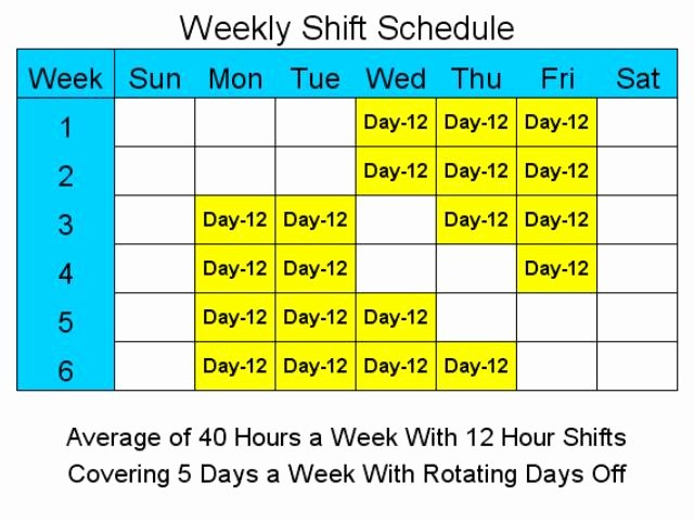 Screenshot 12 Hour Schedules for 5 Days A Week